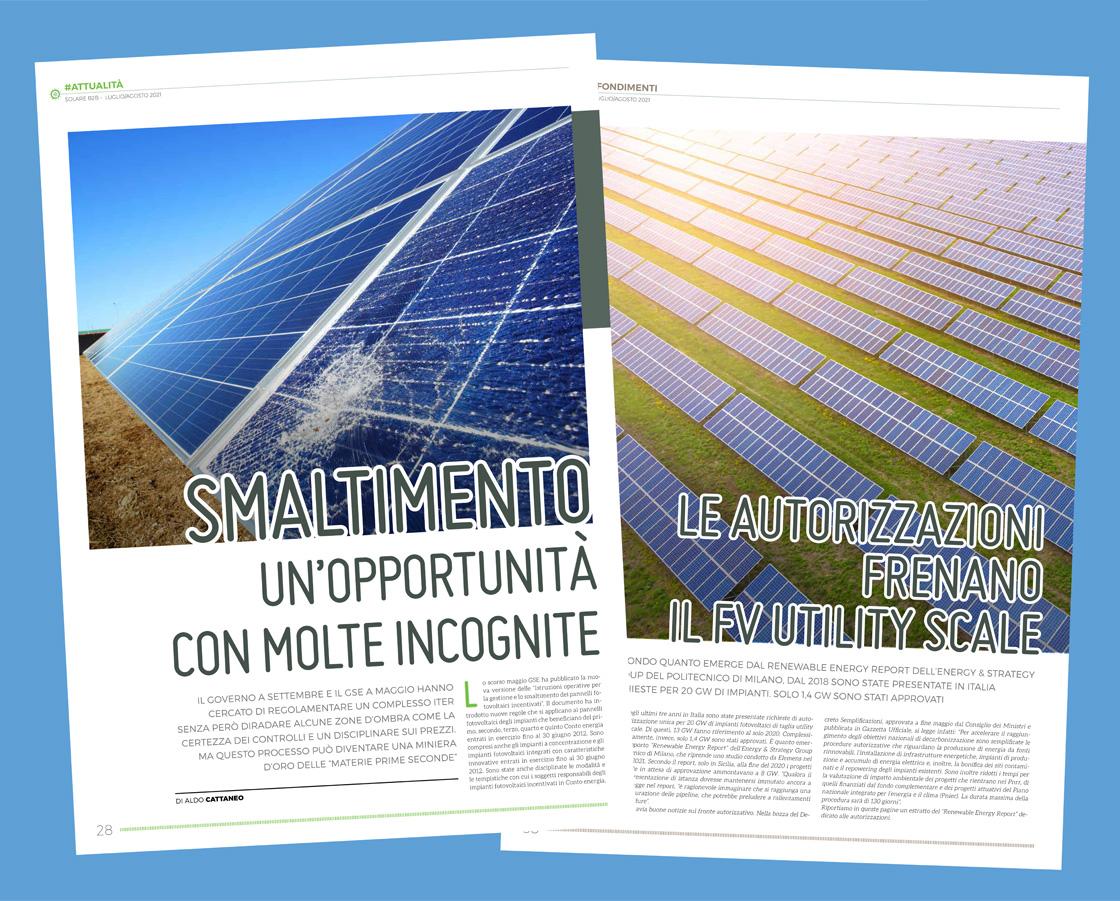Due articoli nel numero di luglio/agosto 2021 della rivista SolareB2B