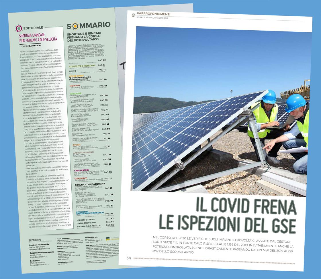 Sommario del numero di luglio/agosto 2021 della rivista SolareB2B